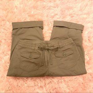 Olive Green Light Weight Capri Pants